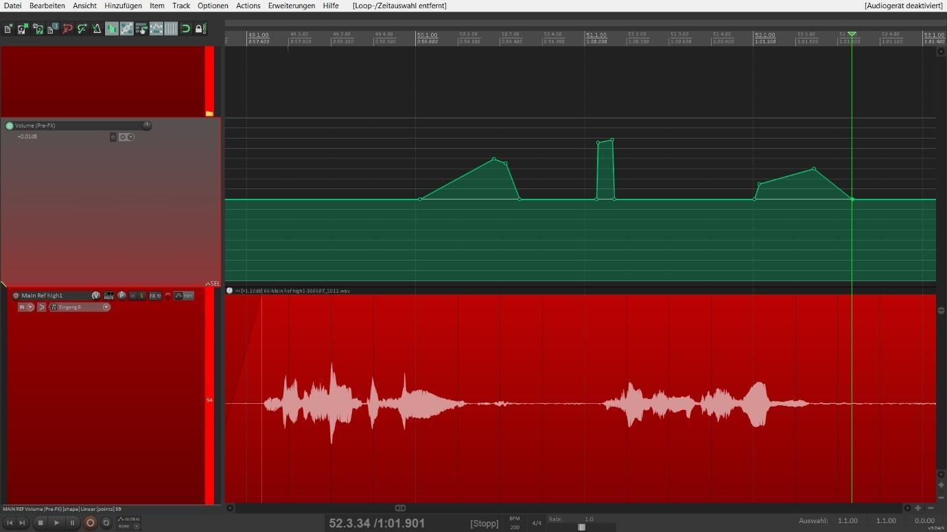 Stimme bearbeiten - Lautstärkeverhältnisse